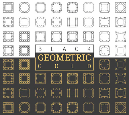 Vector template square collection of photo frames. Set line design elements. Collage geometric shapes
