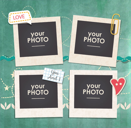Vintage hipster retro stile. Decorative template frame. These photo frame can be use for kids picture or memories. Scrapbook design concept. Inset your picture. 일러스트