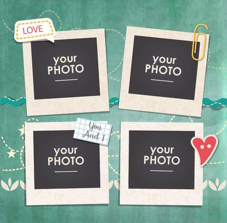 marcos decorativos: inconformista de la vendimia montante retro. Marco del modelo decorativo. Estos marco de fotos puede ser el uso de la imagen hijos o recuerdos. concepto de diseño del libro de recuerdos. Inserte su imagen. Vectores