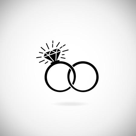 Wedding silhouette anelli icona. Invito a nozze. illustrazione disegnata a mano