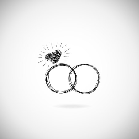 illustration invitation: Wedding silhouette rings icon. Wedding invitation. Jewelry. Hand drawn illustration Illustration