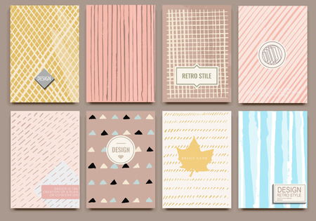 label design: Set of Isolated creative template vector cards. Hand drawn line backgrounds. Vector banners for card, poster, invitation, flyer, party, wedding, brochure. Nice design collection