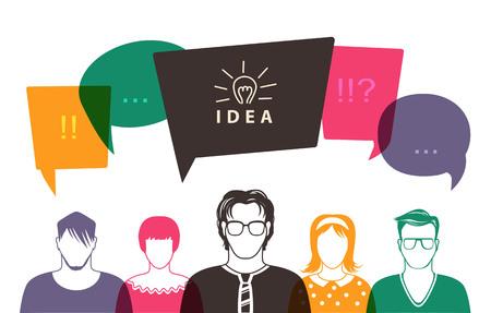 Five people. Men and women avatar profile picture set. Businessman, coworkers, team, think, Question. Idea, Brainstorm. Business concept vector illustration. Ilustração