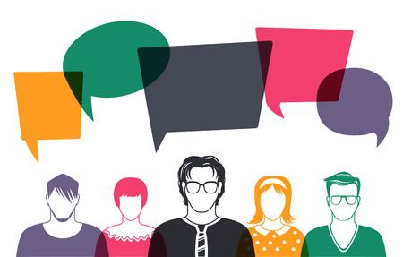 coworkers: Five people. Men and women avatar profile picture set. Businessman, coworkers, team, think, Question. Idea, Brainstorm. Business concept vector illustration. Illustration