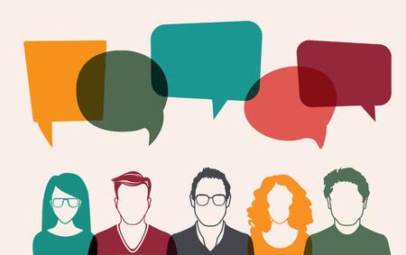 Fünf Menschen. Männer und Frauen Avatar Profilbild. Geschäftsmann, Mitarbeiter, Team, denken, Frage. Idee, Brainstorming. Business-Konzept Vektor-Illustration. Vektorgrafik