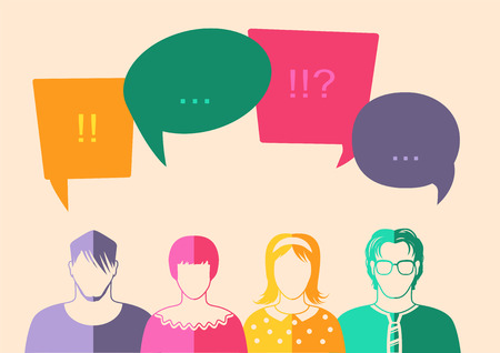profile picture: Four people. Men and women avatar profile picture set. Businessman, coworkers, team, think, Question. Idea, Brainstorm. Business concept vector illustration.