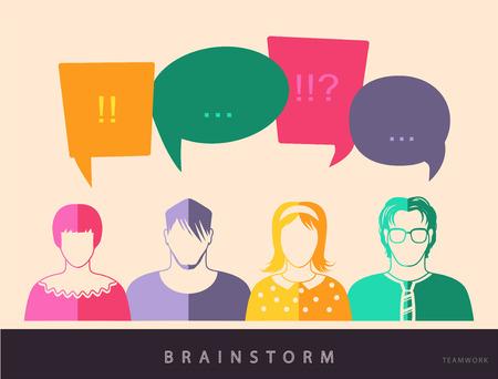 coworkers: Four people. Men and women avatar profile picture set. Businessman, coworkers, team, think, Question. Idea, Brainstorm. Business concept vector illustration.
