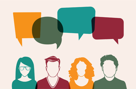 four people: Four people. Men and women avatar profile picture set. Businessman, coworkers, team, think, Question. Idea, Brainstorm. Business concept vector illustration.