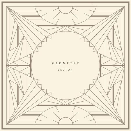 Cadre de modèle vectoriel. Forme du carré. Eléments de conception de ligne. Collage collection géométrique formes or.