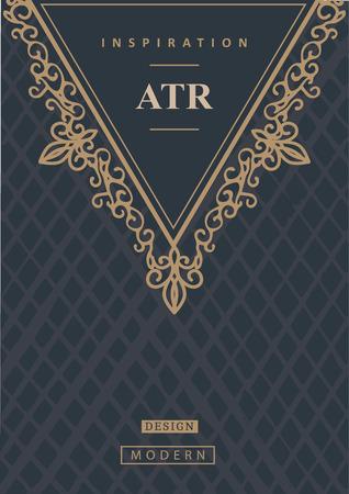 royal logo: Monogram creative card template with flourishes ornament elements. Elegant design for cafe, restaurant, heraldic, jewelry, fashion