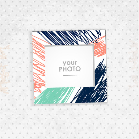 inset: Vintage hipster retro stile. Decorative vector template frame. These photo prame can be use for kid picture or memories, scrapbook concept. Inset your picture.