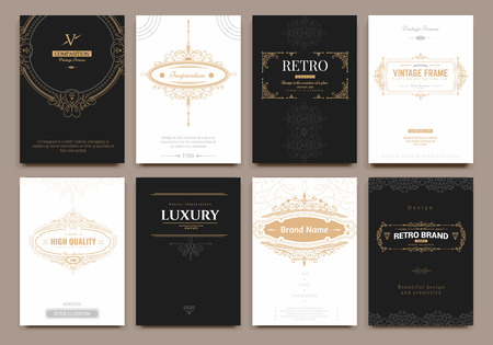jewelry design: Monogram creative cards template with flourishes ornament elements. Elegant design for cafe, restaurant, heraldic, jewelry, fashion