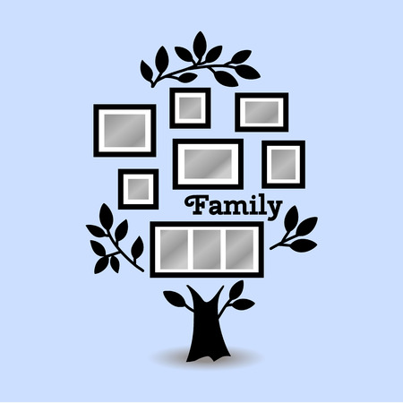 in insert: Memories tree with picture frames. Insert your photo into template frames. Collage vector illustration