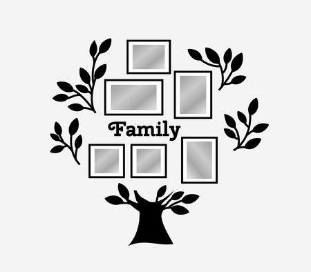 substitute: Memories tree with picture frames. Insert your photo into template frames. Collage vector illustration