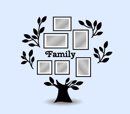 Árbol de recuerdos con marcos de cuadros. Inserte su foto en marcos de plantilla. ilustración vectorial Collage Ilustración de vector