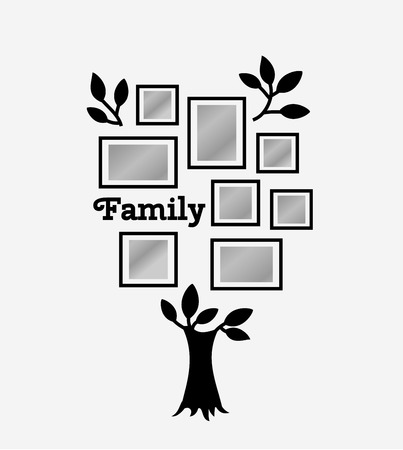 black family: Memories tree with picture frames. Insert your photo into template frames. Collage vector illustration