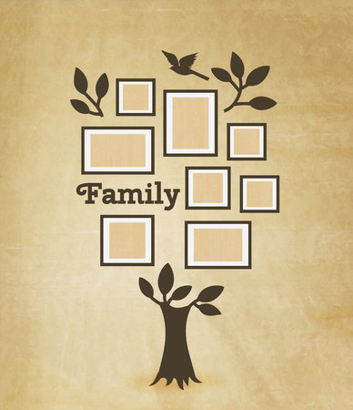 photo frame: Memories tree with picture frames. Insert your photo into template frames. Collage vector illustration