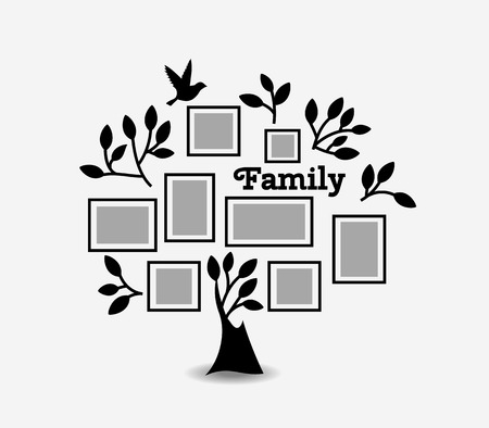 memories: Memories tree with picture frames. Insert your photo into template frames. Collage vector illustration