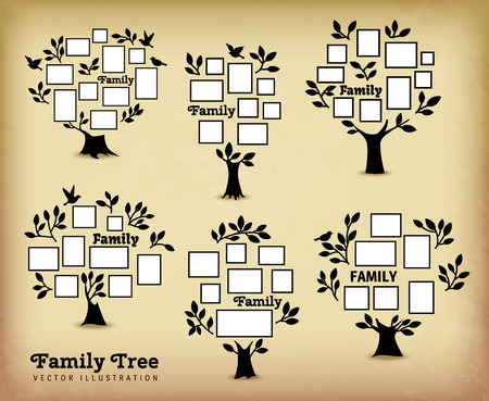 kid portrait: Memories tree with picture frames. Insert your photo into template frames. Collage vector illustration