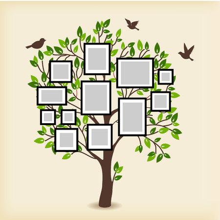 Erinnerungen Baum mit Bilderrahmen. Legen Sie Ihr Foto in Vorlage Rahmen. Collage Vektor-Illustration