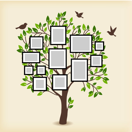 Memories tree with picture frames. Insert your photo into template frames. Collage vector illustration Stock fotó - 59591087