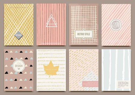 label design: Set of Isolated creative template cards. Hand drawn vintage elements. Vector banners for card, poster, invitation, flyer, party, wedding, brochure. Hipster design collection