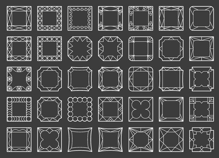 geometrical: Vector template frame. Form of square. Line design elements. Collage collection geometric black shapes.