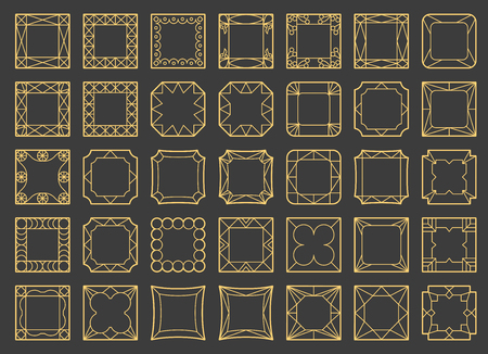 square frame: Vector template frame. Form of square. Line design elements. Collage collection geometric gold shapes.
