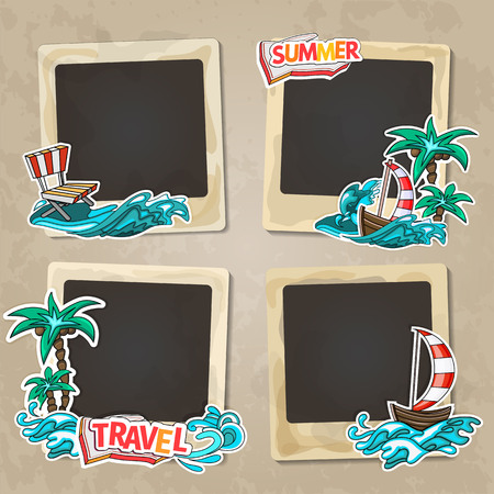 background frame: Collage photo frame on vintage background. Album template for kid, baby, family or memories. Scrapbook concept, vector illustration.