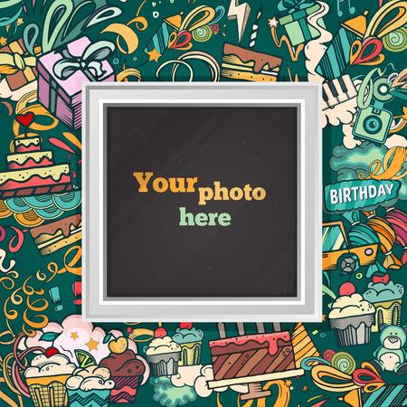 Compleanno di fondo. Collage di foto della carta cornice. modello di album per il capretto, il bambino, la famiglia o ricordi. concept album, illustrazione vettoriale.