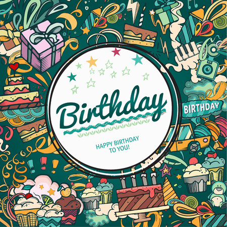 scrapbook frame: Birthday background. Collage photo frame card. Album template for kid, baby, family or memories. Scrapbook concept, vector illustration.