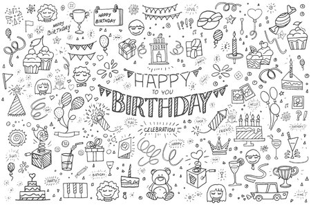Happy birthday hand drawn vector illustration. Party and celebration design balloon, gifts, fireworks, ribbon, confetti, cake drinks Illustration