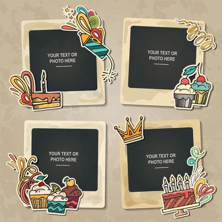 marco de la foto del collage en el fondo de la vendimia. plantilla de álbum para niño, bebé, familia o recuerdos. concepto de álbum de recortes, ilustración vectorial. Ilustración de vector