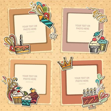 marco cumpleaños: marco de la foto del collage en el fondo de la vendimia. plantilla de álbum para niño, bebé, familia o recuerdos. concepto de álbum de recortes, ilustración vectorial.