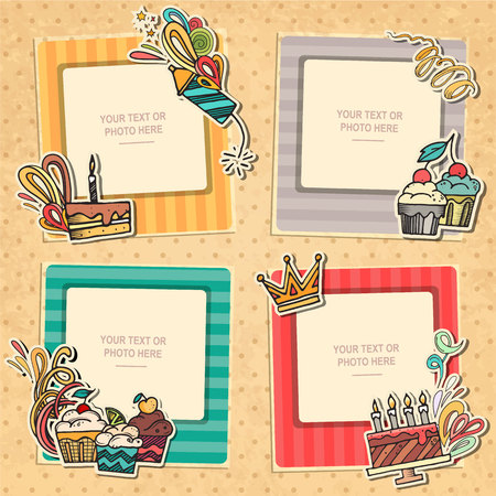 picture card: Collage photo frame on vintage background. Album template for kid, baby, family or memories. Scrapbook concept, vector illustration.