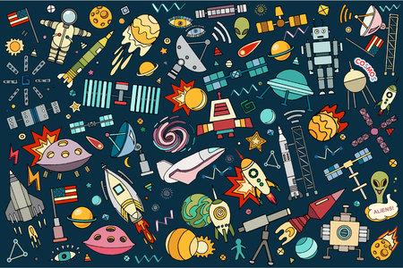 Vector abstracte illustratie van de ruimte. Zonnestelsel. Maan, astronaut, planeet, raket, aarde, kosmonaut komeet universum baan Technologie Hand getrokken strip