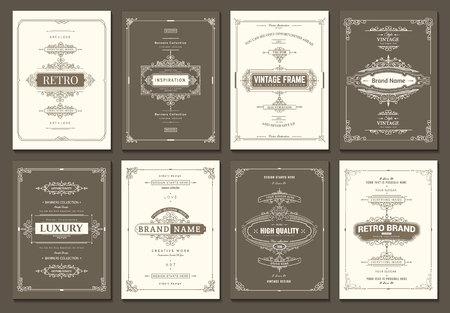 Modello di carte creative monogramma con elementi ornamentali fiorisce. Design elegante per bar, ristorante, araldico, gioielli, moda. Elementi disegnati a mano Cornice d'epoca ricci e volute
