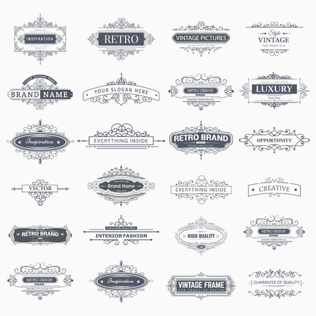 label frame: Set of creative vector templates for logos, label or banners on the theme of quality and business in vintage style. Flourishes calligraphic elements. Design frame and page decor