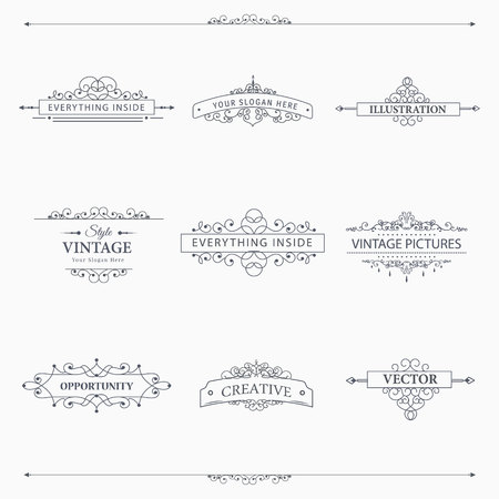 boarder: Set of creative vector templates for logos, label or banners on the theme of quality and business in vintage style. Flourishes calligraphic elements. Design frame and page decor