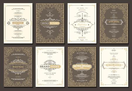 Monograma plantilla de tarjetas creativo con adornos ornamento elementos. diseño elegante para el café, restaurante, heráldico, joyería, moda
