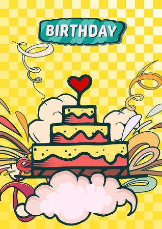 Feliz cumpleaños fondo ilustración vectorial abstracto. Tarjetas del diseño del partido y de la celebración. Ilustración de globo, regalos, fuegos artificiales, cinta, confeti, pastel, pastel, bebidas. Estilo ómico Ilustración de vector