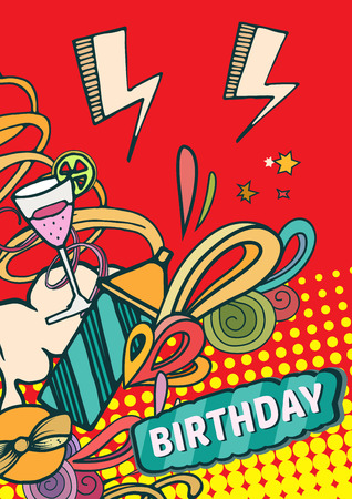 party drinks: Happy birthday background abstract vector illustration. Party and celebration design cards. Illustration of balloon, gifts, fireworks, ribbon, confetti, cake, pie, drinks. omics style