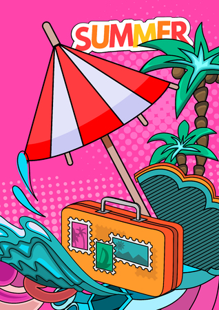 Cartoon style. Summer tourism concept. Voyage, journey and travel. Vacation vector illustration