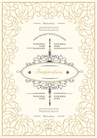 vintage fashion: Monogram creative card template with flourishes ornament elements. Elegant design for cafe, restaurant, heraldic, jewelry, fashion. Hand drawn elements. curly and swirls vintage frame