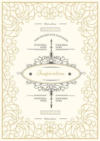 Monogram modello di scheda creativo con svolazzi ornamento elementi. Design elegante per bar, ristorante, araldico, gioielli, moda. Mano elementi tratti. ricci e turbinii cornice d'epoca