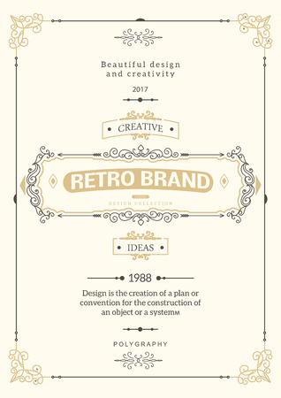 vintage design: Monogram creative card template with flourishes ornament elements. Elegant design for cafe, restaurant, heraldic, jewelry, fashion. Hand drawn elements. curly and swirls vintage frame