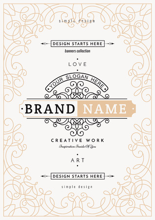 jewellery: Monogram creative card template with flourishes ornament elements. Elegant design for cafe, restaurant, heraldic, jewelry, fashion. Hand drawn elements. curly and swirls vintage frame