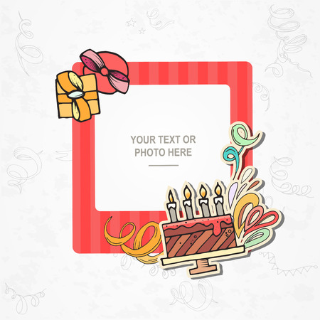scrapbook frame: Photo frame on vintage background. Album template for kid, baby, family or memories. Scrapbook concept, vector illustration. Illustration