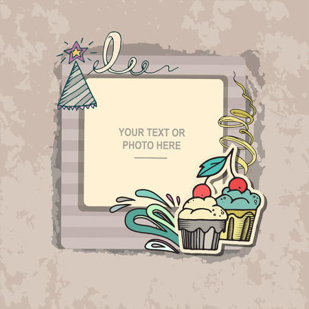 scrapbook frame: Photo frame on vintage background. Album template for kid, baby, family or memories. Scrapbook concept, vector illustration. Illustration