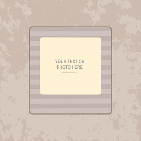vintage photo: Photo frame on vintage background. Album template for kid, baby, family or memories. Scrapbook concept, vector illustration. Illustration